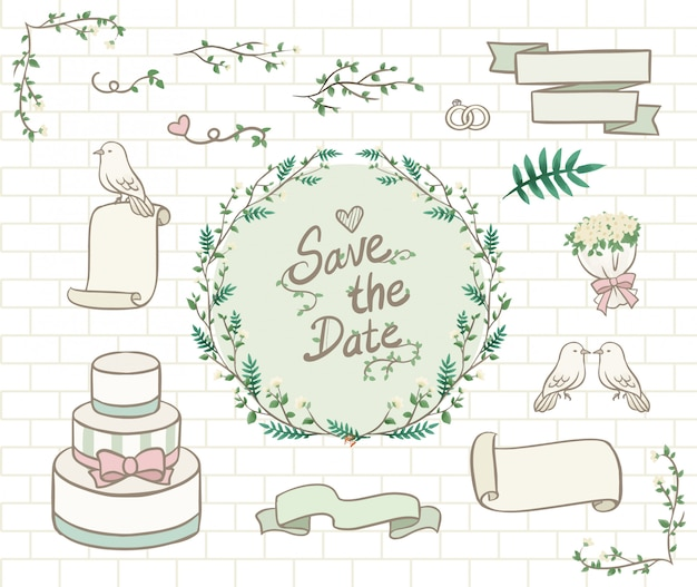 Handdrawn pastel green wedding ornament Premium Vector