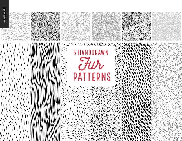 Handdrawn patterns set Premium Vector