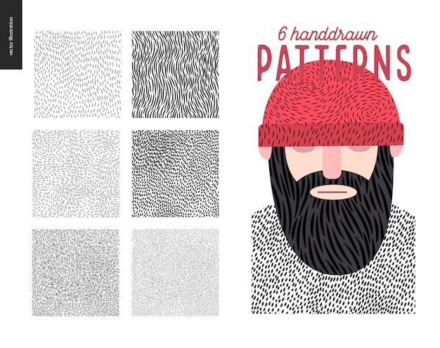 Handdrawn patterns set Premium Vector