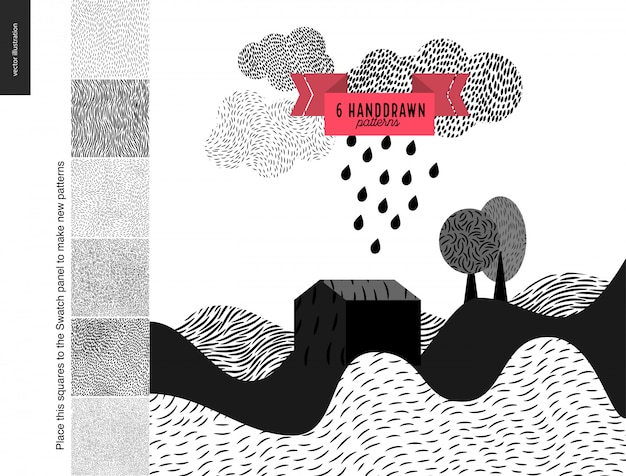 Handdrawn patterns with a landscape Premium Vector