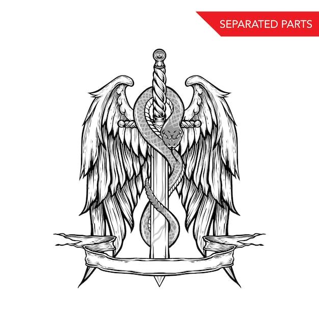 Handdrawn snake sword and wings Premium Vector