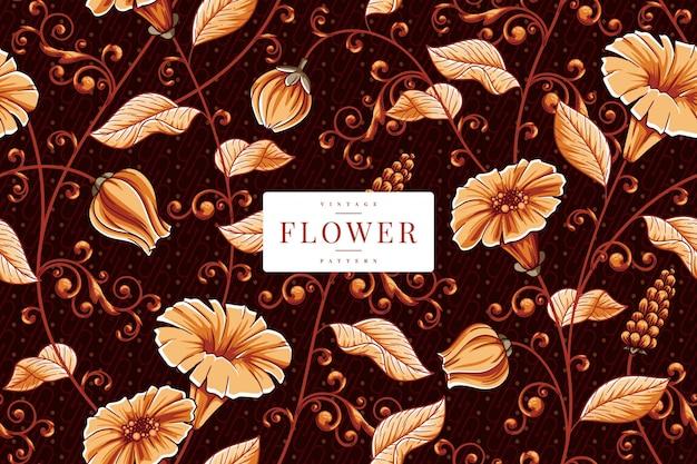手描きヴィンテージ花柄テンプレート Premiumベクター