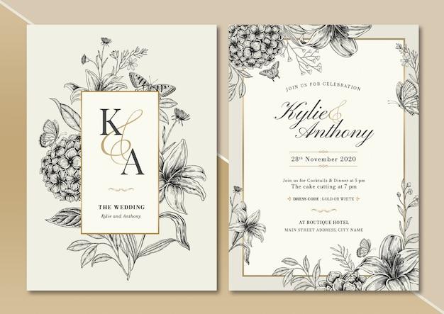 Handdrawn vintage floral wedding invitation card Premium Vector