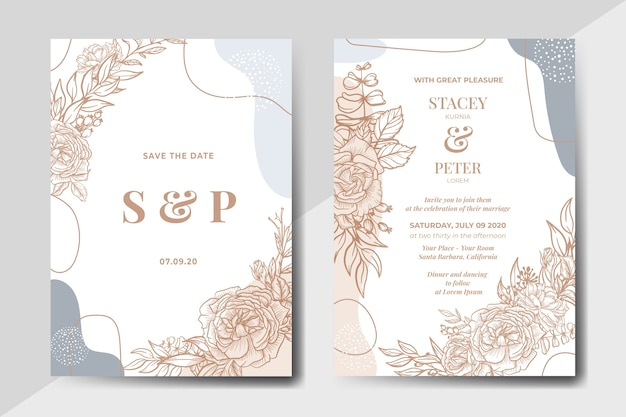 Handdrawn vintage floral with abstract shape wedding invitation card Free Vector