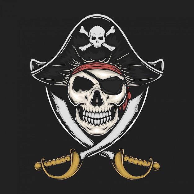 Handdrawn vintage pirate skull vector illustration Premium Vector