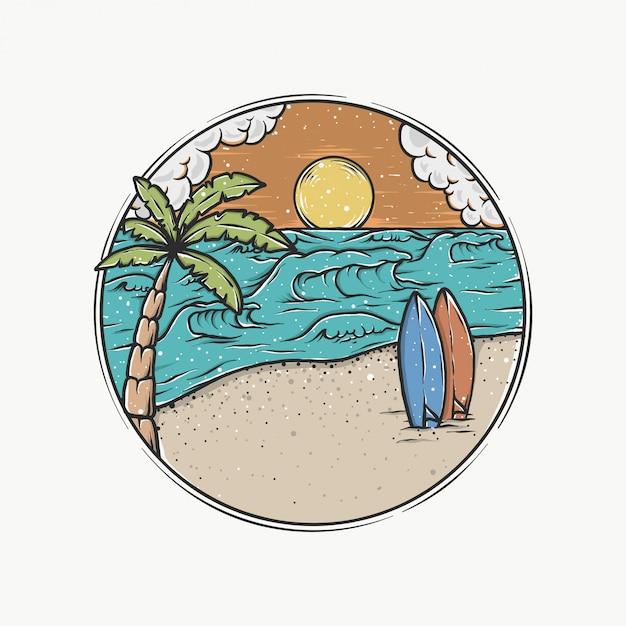 Handdrawn vintage sunset beach vector illustration Premium Vector