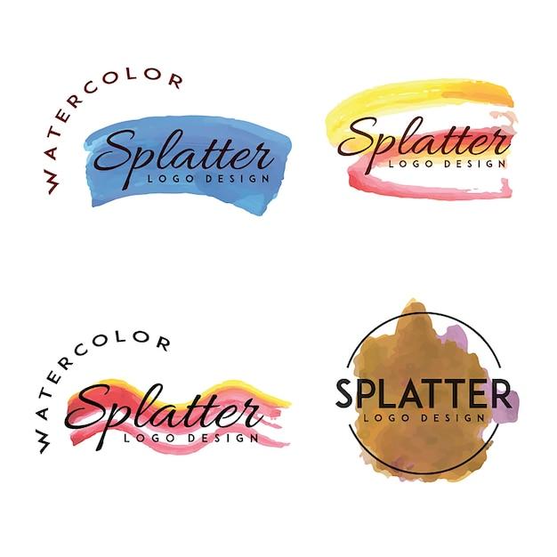 Handdrawn Watercolor Splatter logos Free Vector