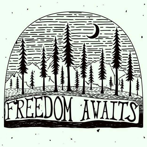 Свобода ждет шероховатый handdrawn цитата плакат Бесплатные векторы