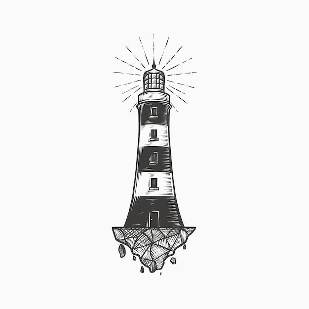 Handdrawn старинный маяк Premium векторы