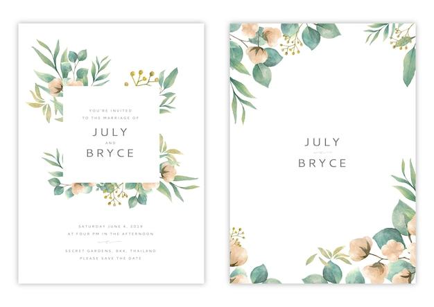 Handdrawn цветочные свадебные приглашения карты шаблон Premium векторы