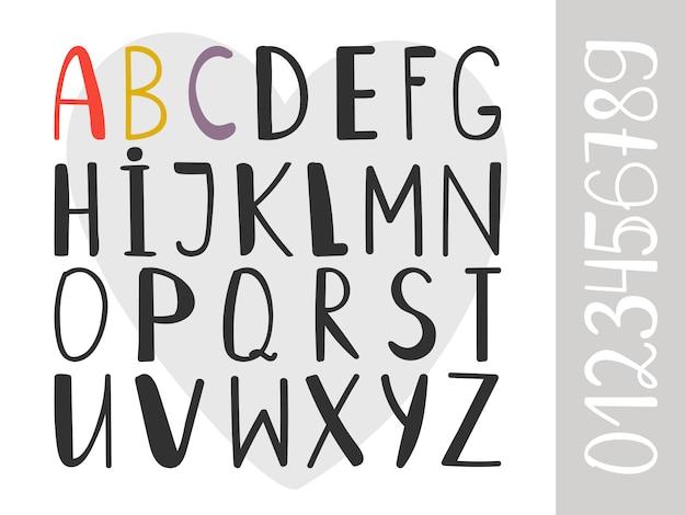 Handdrawn алфавит шрифт Premium векторы