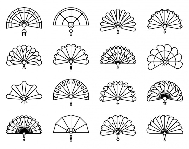 Handheld fan icons set, outline style Premium Vector