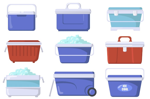 Handheld ice cooler boxes flat set Free Vector