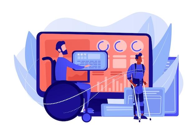 車椅子の障害者。負傷したキャラクターのリハビリ。支援技術、障害者のための装置、採用された技術の概念。ピンクがかった珊瑚bluevector分離イラスト 無料ベクター