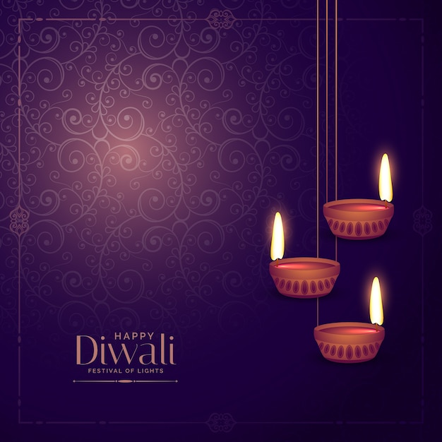 handing diwali lamp diya with floral background vector