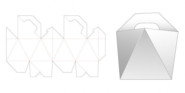 Handle angled side box die cut template design Premium Vector