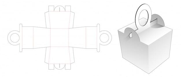 Handles meal box die cut template design Premium Vector