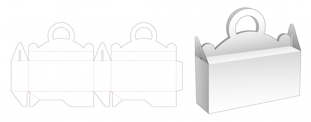 Handles packaging box die cut template Premium Vector
