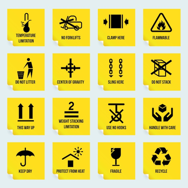 Handling and packing yellow stickers set with temperature limitation flammable no stack symbols isolated vector illustration Premium Vector