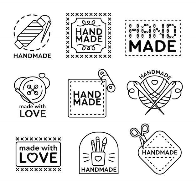 Handmade badges set Free Vector