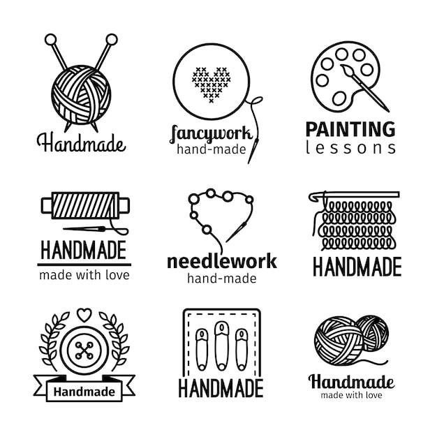 Handmade black thin line icons on white background Premium Vector