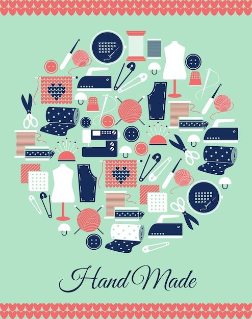 Handmade circular symbol. sign of sewing, knitting and pattern pieces. Free Vector