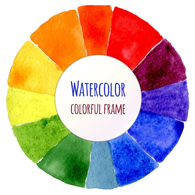 Handmade Color Wheel Isolated Watercolor Spectrum Vector Illustration Premium