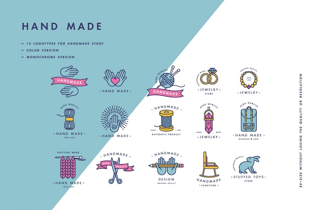 Handmade colorful line logos set. handmade linear badges or handmade outline labels. knitwear and sewing symbols. illustration. Premium Vector