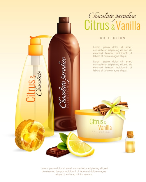 Handmade cosmetics with nutritive ingredients poster Free Vector