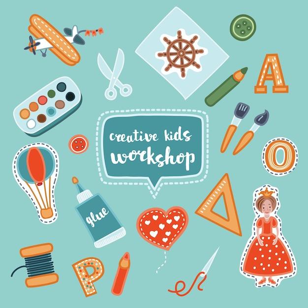 Творческие детские баннеры ручной работы. баннеры творческого процесса с детским приложением и детскими руками. иллюстрация набора мастерской Premium векторы