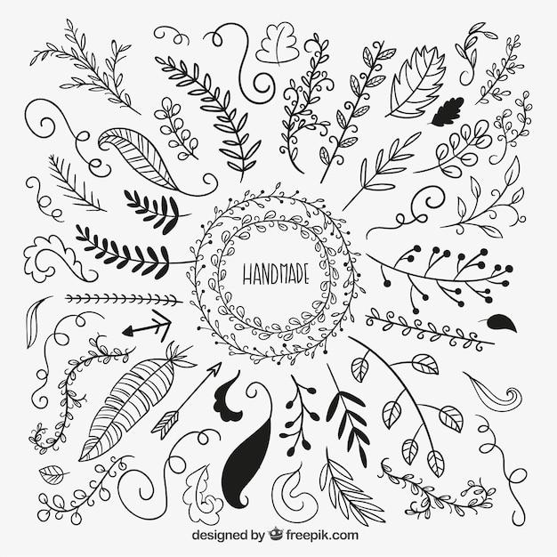 Handmade decorative leaves vector free download for Decoraciones para hojas