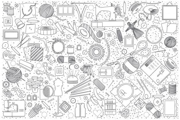 Handmade doodle set Premium Vector