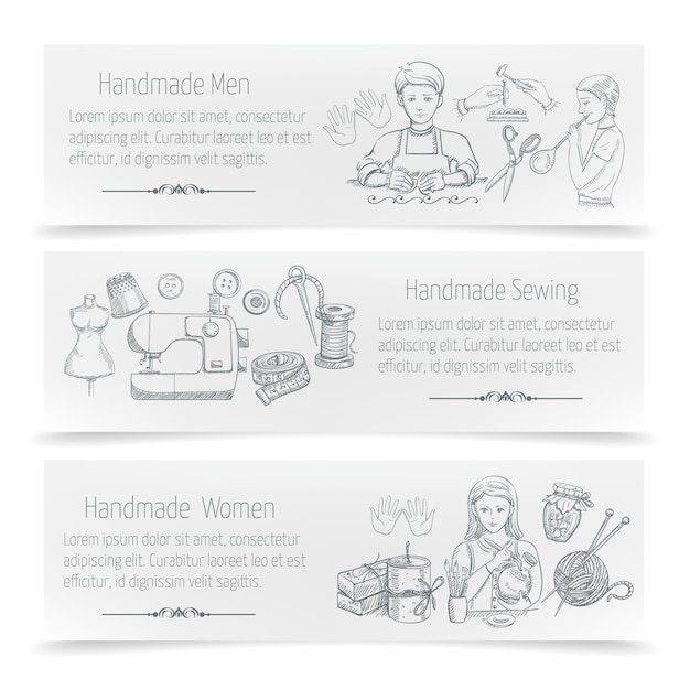 Handmade horizontal banner set with hand drawn sewing elements Free Vector