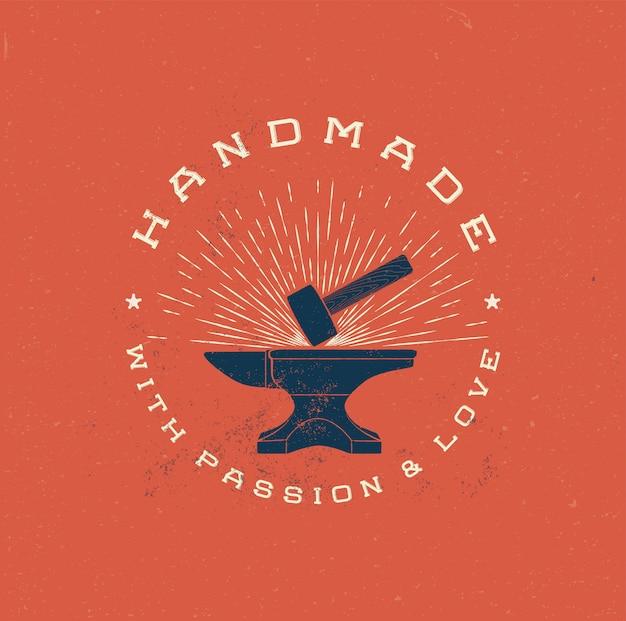Handmade logo with hummer vintage style Premium Vector