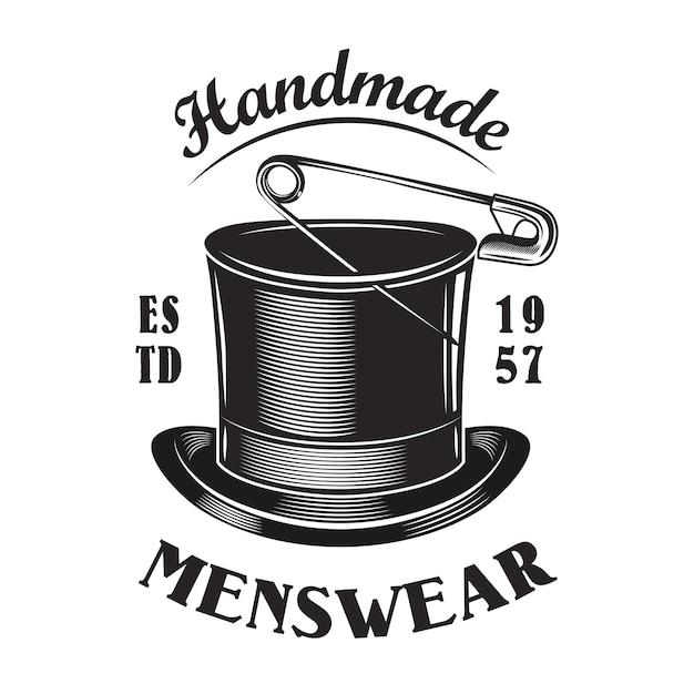 Modello di emblema del cappello a cilindro maschile fatto a mano Vettore gratuito