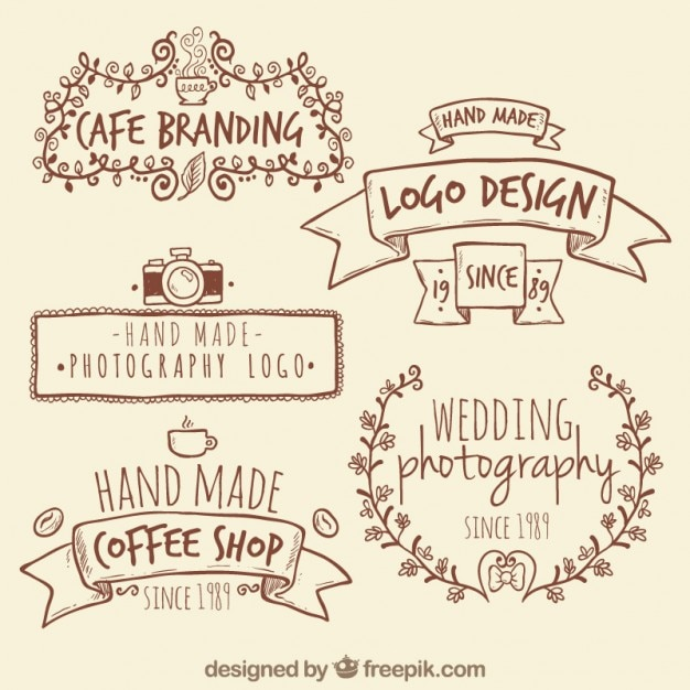 Handmade retro logos Vector  Premium Download