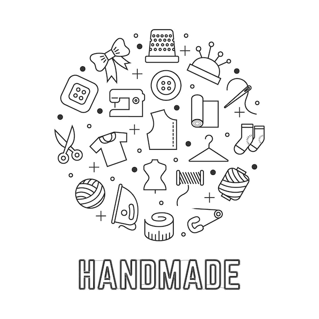Handmade round logo  with taylor sewing linear icons isolated on white background Premium Vector
