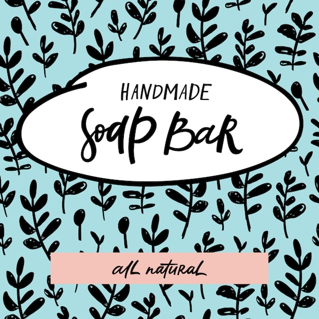 Handmade soap bar label with handdrawn lettering and floral seamless pattern Premium Vector