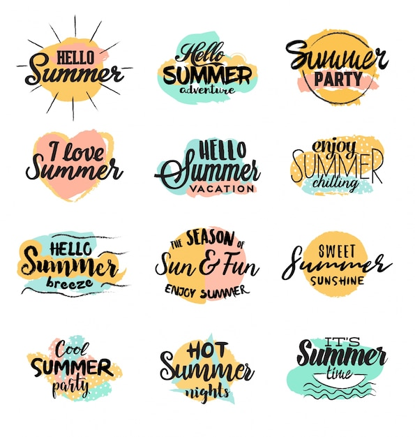 Handmade summer designs Free Vector