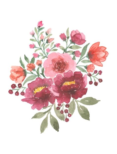 수제 수채화 꽃 예술 무료 벡터