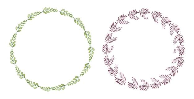 Insieme della corona floreale dell'acquerello fatto a mano Vettore gratuito