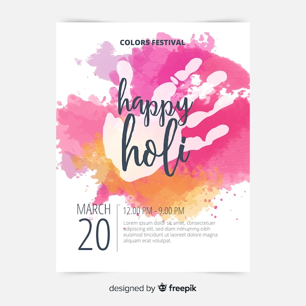 Handprint holi poster template Free Vector