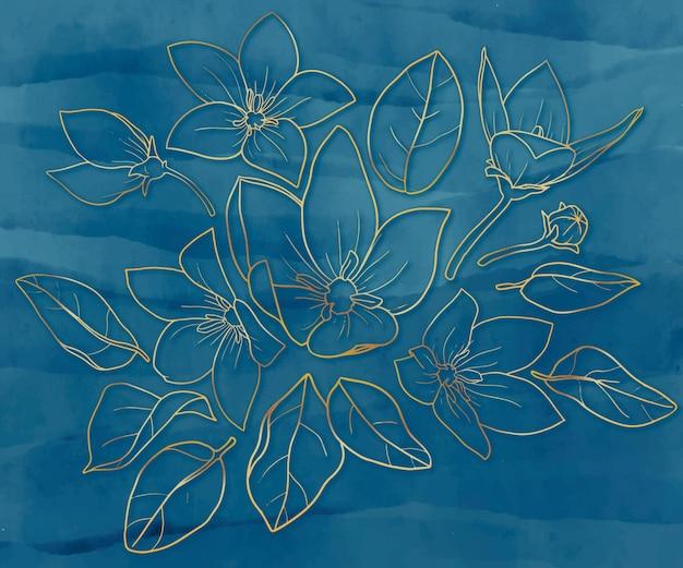 葉と花の金のhandrawnコレクション 無料ベクター