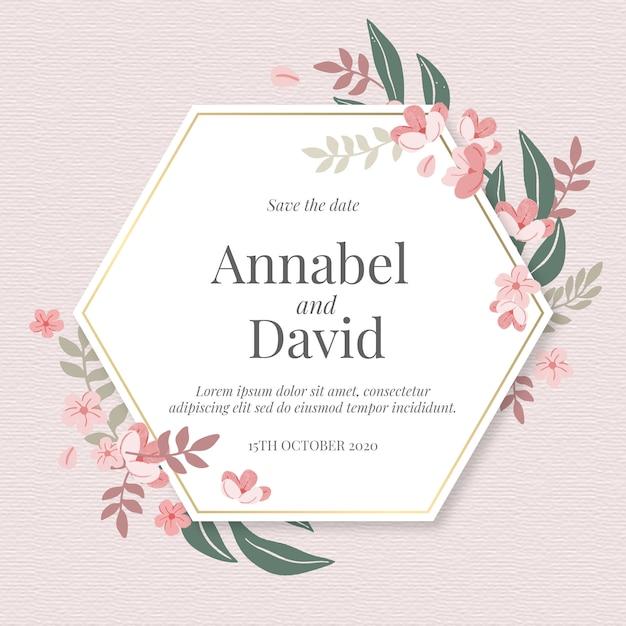 六角形のhandrawn花の結婚式の招待状 無料ベクター