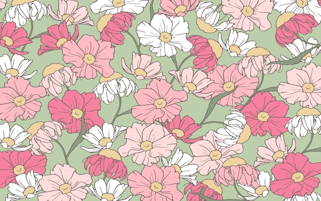 Handrawn 개요 분홍색과 흰색 꽃 배경 무료 벡터