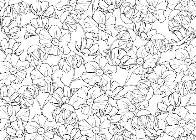 Handrawn delinea sfondo fiori Vettore gratuito
