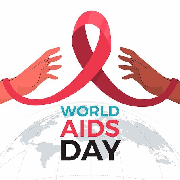 Nastro dell'evento del giorno delle mani e dell'aids Vettore gratuito