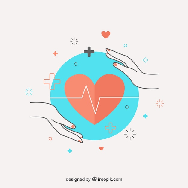 Hands and cardiology Free Vector