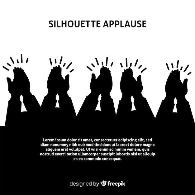 Hands applauding silhouette background Free Vector