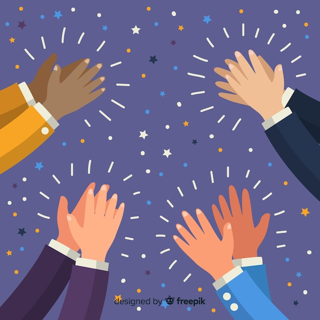 Hands applauding with confetti background Free Vector